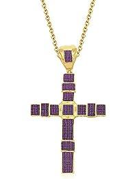 Silvernshine Unisex 9K Yellow Gold FN Pink Sapphire Sim Diamond Micro Pave Cross Pendant Necklace
