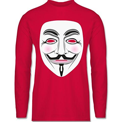 Shirtracer Nerds & Geeks - Anonymous Maske Hacker - Herren Langarmshirt Rot