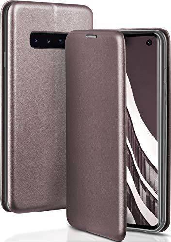 ONEFLOW Samsung Galaxy S10 | Hülle Anthrazit-Grau mit Karten-Fach 360° Business Klapp-Hülle Handytasche Kunst-Leder Handyhülle für Samsung Galaxy S10 Flip Case Cover Tasche Schutzhülle