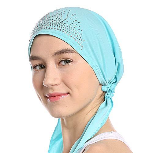 Crystal Chemo Hut, Frauen Stretchy Beanie Bandana Turban Cap Schädel Cap Kopf Wickeln Kopftuch Pre gebunden Bandana für Krebs Alopezie Haarausfall Poly Turban