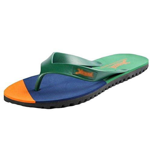 Yiiquan Herren Sommer Flache Flip Flop Hausschuhe Pantoletten Zehentrenner Sandalen Orange