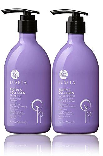 LUSETA Anti-Haarausfall Shampoo und Spülung mit Biotin und Kollagen Ideal gegen Haarausfall Fördert das Haarwachstum 2 x 500 ml