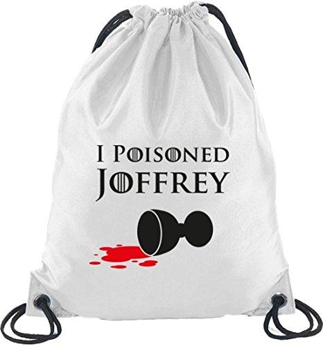 Shirtstreet24, I Poisoned Joffrey, Turnbeutel Rucksack Sport Beutel Weiß