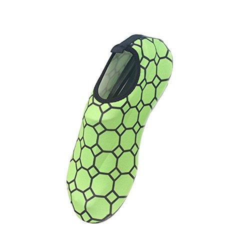 Moolecole Doux Unisexe Barefoot Eau Sports Aqua Chaussures Extérieur Fitness Yoga Chaussures de Course pour Beach Natation Surf Peau Aquatiques Chaussures Vert