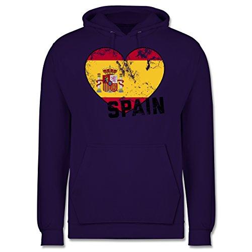EM 2016 - Frankreich - Spain Herz Vintage - Männer Premium Kapuzenpullover / Hoodie Lila