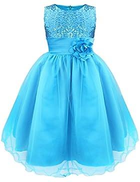 Freebily Kinder Mädchen festliches Kleider Hochzeit Kleid Prinzessin Pailletten Kleid Festzug Partykleid Gr.98...
