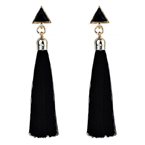SMARTLADY Mujer Bohemia Pendientes largos colgantes Borla flecos Fiesta (Negro)
