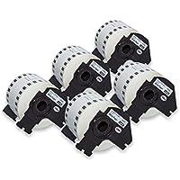 vhbw 5X Rollo de Etiquetas Adhesivas Premium 62mm para Brother P-Touch QL-650TD, QL-700, QL-710, QL-710W, QL-720, QL-720NW como DK-44205.
