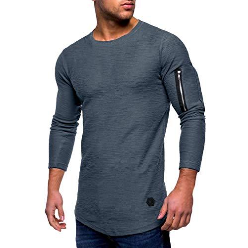 Innerternet Langarmshirt Herren Longsleeve Slim Fit T-Shirt Leicht Oversize  Basic Sweatshirt in Vielen Farben Langarmshirt mit Rundhalsausschnitt 69c68fc410
