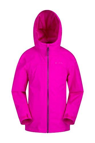 orrent wasserdichte Kinderjacke - versiegelte Nähte, Reißverschlusstaschen, verstellbare Funktionen - ideal zum Reisen, Campen, Wandern, Frühling leuchtendes Pink 104 (3-4 Jahre) ()