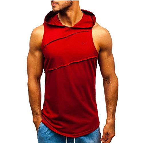 Beonzale Männer Casual Kurzarm Hooded Striped Splicing Weste Jacke Patchwork Ärmellose Kontrast Hoodie Bluse Top T-Shirt (Boss Junior T-shirt Men)