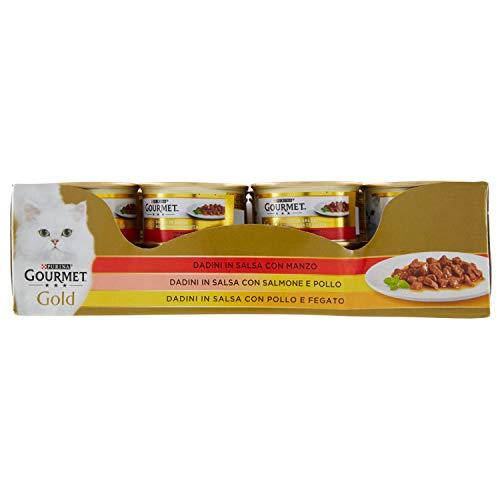 Purina Gourmet Gold Umido Gatto Dadini in Salsa con Manzo, con Salmone e Pollo, con Pollo e Fegato, 24 Lattine da 85 g Ciascuna, Confezione da 24 x 85 g