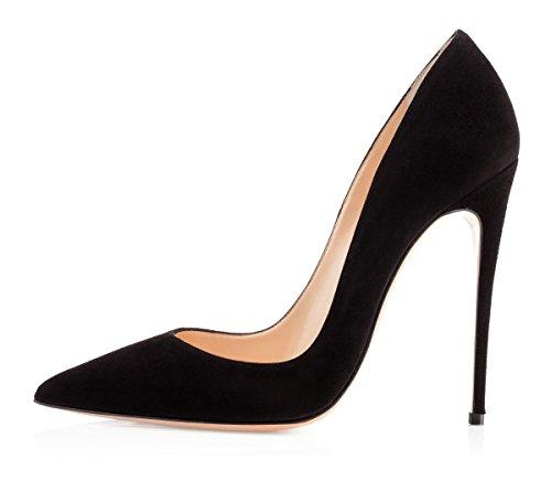 EDEFS Damen Spitze Zehe Schuhe 12cm High Heel Pumps Hohen Absätzen Geschlossen Abendschuhe Schwarz Größe EU45