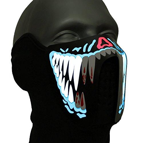 Ucult LED-Maske: Leuchtende Monstermaske soundaktive Maske Gruselmaske Faschingsmaske Karneval