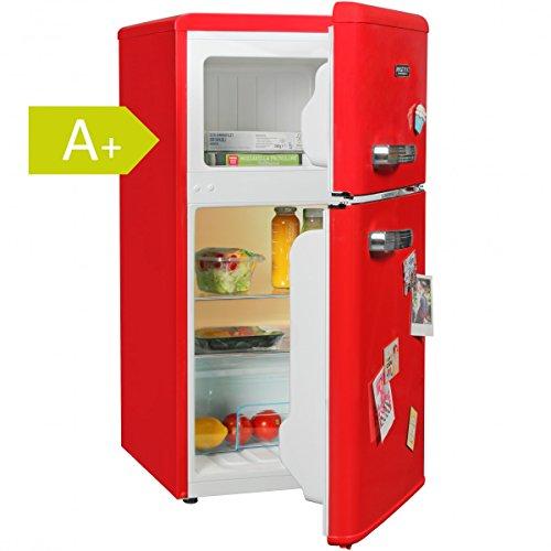 Amstyle Design Retro Minikühlschrank 95L / 2-Türig mit separatem Gefrierfach / A+ / freistehend mit stufenloser Temperatureinstellung / rot