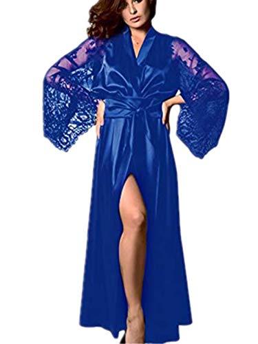 TEBAISE Damen Satin Kimono Morgenmantel Lang Bademantel Frauen Schlafanzug Negligee Nachthemd Nachtwäsche Unterwäsche V Ausschnitt mit Gürte Muttertags Mama Geschenk