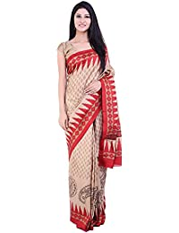 [Sponsored]beige And Red Printed Silk Saree