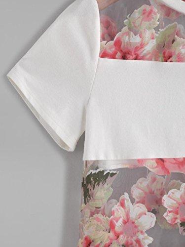 OverDose 2017 Damen Sommer Weiß Kurzarm Blume Gedruckt lichtdurchlässig Spleiß T-Shirt Blusen-Tops Weiß