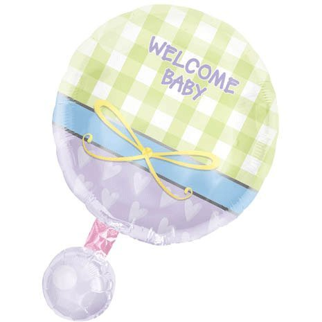 Baby Rattle Personalized 18in Balloon by Mayflower Distributing Co.