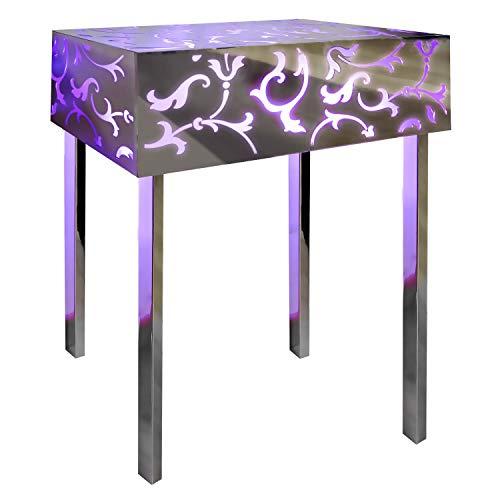 INSEGNESHOP Konsole Beistelltisch Nachttisch Cubo Plexiglas, Lampe in Stahl hell mit Spiegel und Plex Magenta/Außen Garten Wohnzimmer Schlafzimmer