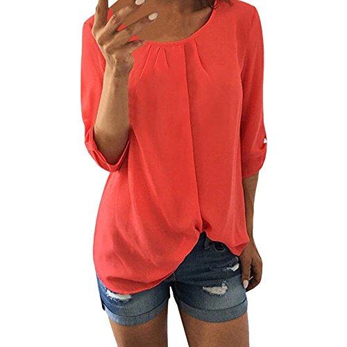 TITIU Damen Lose Patchwork Casual Knopf Kurzarm Bluse Oberteil Tees T-Shirt Tops(X3-Orange,EU-38/CN-S)