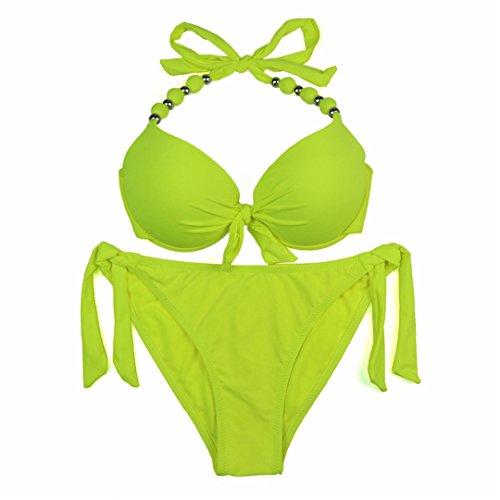 LJTDE Bikinis Badeanzüge brasilianischen WomenPrint Blumenmuster Neckholder Anzüge weiblichen XXL stetig gelb leuchtet gelb