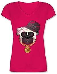 4d019c54f4ad Hunde - Bad Boy Mops Vintage - Damen T-Shirt mit V-Ausschnitt