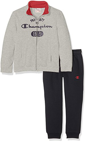 Champion Jungen Sweatsuit Jogginganzug, Oxford Grey/New Navy/Berry Red, S (Navy Sweatsuit)