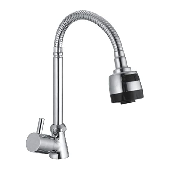 SBDTM Swan Brass 360 Rotating Shower Tap for Kitchen/Bathroom Cubix,Table/Deck Mounted/Big Flexible Neck and Double Flow (Silver, 3 X 3)