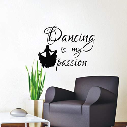 yiyiyaya Tanzen Ist Meine Leidenschaft Wandtattoos Mädchen Silhouette Wohnkultur Vinyl Abnehmbare Wohnzimmer Schlafzimmer Kunst Wandbilder Wand 80 * 58 cm (Halloween-angebot Meine Mädchen)