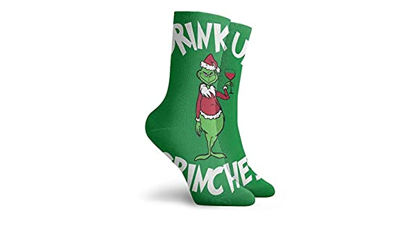 BlueBling Dress Socks Drink Up Grinches Stylish Womens Stocking Party Sock Clearance For Men