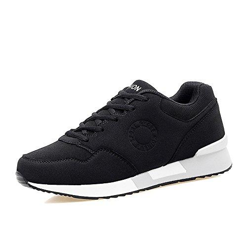 Casual Suede Shoe Männer und Frauen Athletic Sneakers Casual Neue Art Dicker Boden Muffin High Skid Running Sneaker Herren Sneaker (Color : Schwarz, Größe : 42 EU)