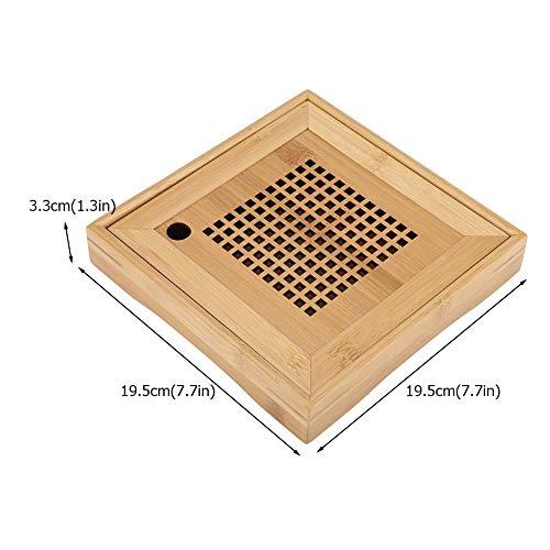 TOPINCN Bambusentwässerung Art Tee Tabellen Serviertablett Japanische/Chinesische Art Mini Square Kongfu Tee Platte mit Wasserspeicher für Innenministerium