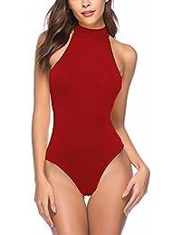 Mujer Body sin Mangas - Cómodo Elástica Camisa Moda Sexy Vendaje Slim Fit Cabestro Bodysuit Color