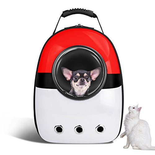 VOUMEY Portable Pet Travel Carrier Rucksack für Katzen/Small Medium Dogs/Haustiere Größere Raumkapsel Atmungsaktiv (Rot) (Medium Pet Carrier)