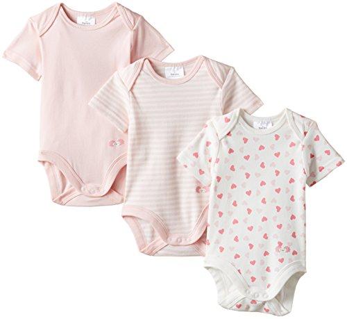 Twins Baby - Mädchen Kurzarm-Body im 3er Pack mit zartem Print, Mehrfarbig, Gr. 86, Rosa (13-2804 rosé)