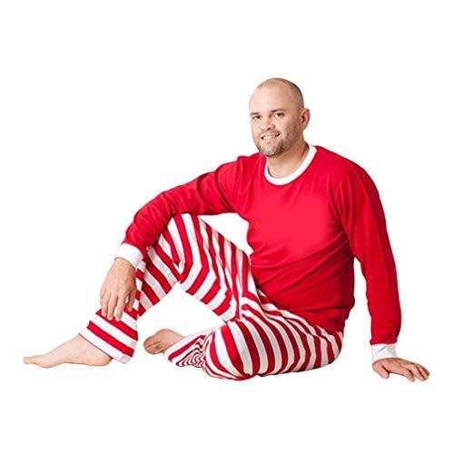 Naisidier Weihnachtspyjama Herbst Winter Mutter Vater Tochter Sohn Pyjama rot & weiß gestreift Familie Kleidung Set Freizeitkleidung Anzug Garten Haus Küche Weihnachten Dekoration (Familie Pyjama-sets Weihnachten)