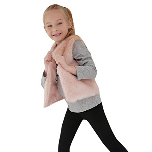 Longra Kinder Mädchen Winter Warme Fellweste Weste Kunstfell Ärmellose Jacke Pelzweste Kunstpelz stylisch Ärmellose Weste Kinder Winter Pelzjacke Outwear(3-8Jahre) (120CM 6Jahre, Pink)