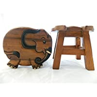 Thai Gifts Childrens Wooden Stool - Elephant Shaped