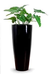 """Vivanno Exclusive Grand pot de fleurs en fibre de verre et """"City"""" - 100 Cm (Noir brillant)"""