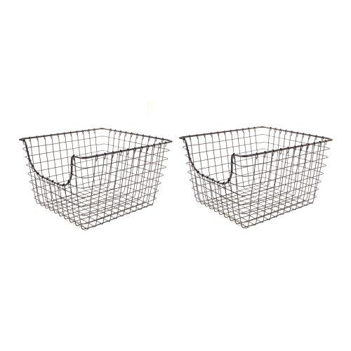 Spectrum Diversified Scoop Wire Storage Basket, Medium, Industrial Gray, 2-Pack
