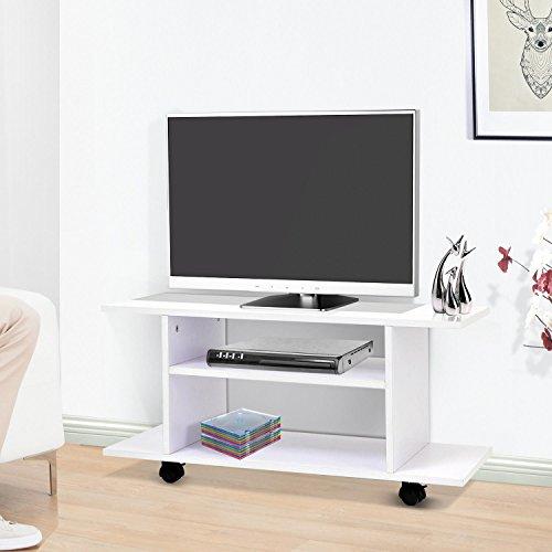 homcom Mobile Porta TV in Legno con Ruote Color Bianco 80x40x40cm 11.5KG