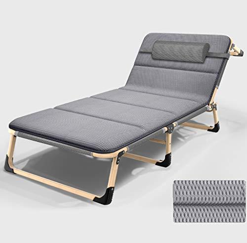 YWZDY Liegen Folding Campingbett Sonnenliege Krippe tragbares Bett Teslin Stoff Starkes stabiles Gewicht kann 300 kg Camping, Reisen und Freizeit zu Hause tragen (Color : Gray, Size : B) (Krippe Kopfstütze)