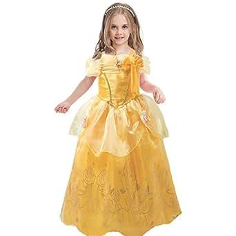 GenialES Costume Principessa Giallo Carino Costume Cosplay Festa Nuziale Compleanno Halloween Carnival Ragazze 100