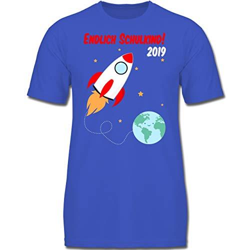 Einschulung und Schulanfang - Endlich Schulkind Rakete 2019-128 (7-8 Jahre) - Royalblau - F130K - Jungen Kinder T-Shirt -
