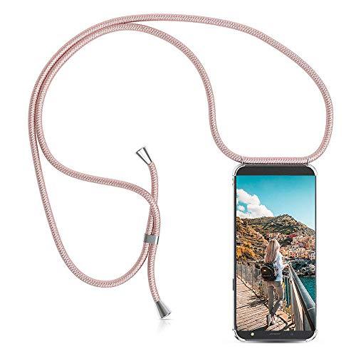 XCYYOO Handyanhänger Hülle für Samsung Galaxy J5 2017 J530,Pouch Bag Mode-Accessoire Handytasche Smartphone Necklace HandyHülle mit Band - Schnur mit Case zum umhängen in Roségold