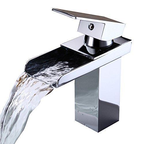 Ouku Waschbecken Wasserhahn im modernen Stil einzigen Handgriff Wasserfall Waschbecken Wasserhahn verchromt wasserhahn bad badarmaturen badezimmerarmaturen armaturen badezimmer badmöbel glaswaschtische