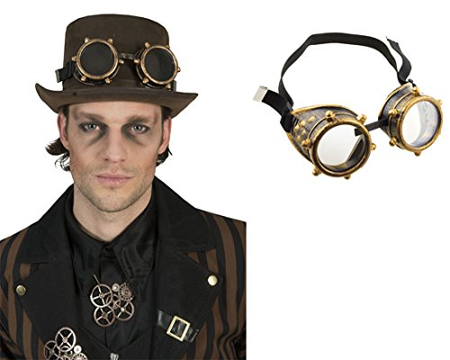 erdbeerclown - Kostüm Steampunk Brille Schutzbrille Schrauben mit Gummi, (Nerd Kostüm Overall)