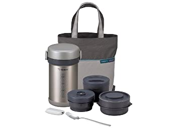 Zojirushi Lunch Bag with Insulated Food Flask, Cutlery and 3 Separate Storage Containers for Hot and Cold Food, Set of 6 Pieces