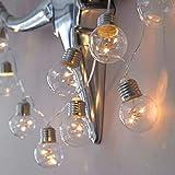 Prevently 10er Lichterkette LED Lichterkettenvorhang Rundlicht Ball der runden Glühlampe der Schnur LED Lichterkette Glühbirne Runde Kugel Lichtanordnung Outdoor Garten Licht